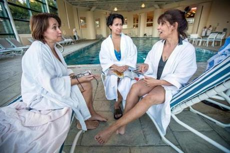 Diana Marshall, Debbie Stewart, and Doris Neffinger gather for a chat at a spa at the Cranwell Resort.